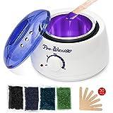 Wachswärmer Wachs Haarentfernung, Waxing set Wax enthaarung - Wachsmaschine/Wachserhitzer + 400g perlwax set + 30 * Holzspateln für Haarentfernung