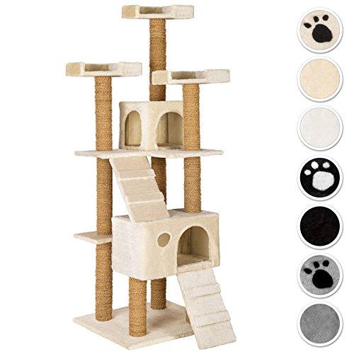 TecTake Katzen Kratzbaum Katzenbaum mittelhoch | Stämme komplett mit Kokosseil umwickelt | 2 Höhlen - Diverse Farben - (Beige | Nr. 402190)
