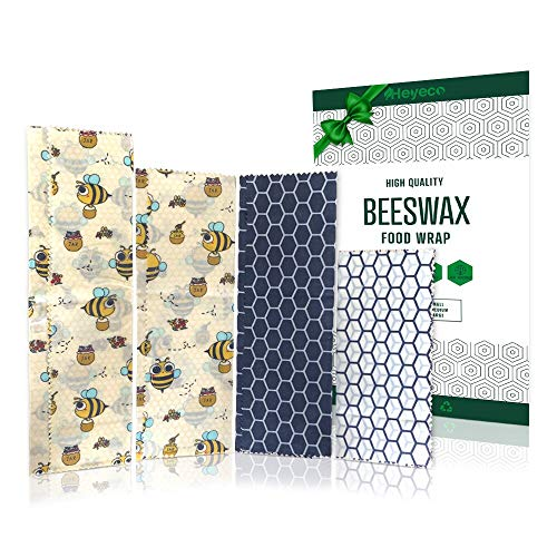 HEYECO Bienenwachswickel - Bio-Baumwollwickel mit natürlichem Bienenwachs - Baumharz und Jojobaöl |Wiederverwendbare Lebensmittelverpackung - 4er-Set