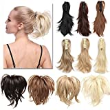 TESS Ponytail Haarteil Pferdeschwanz Extensions DIY Haarverlängerung Clip in Synthetik Haare für Zopf Haarteil Hair Extensions 12'(30cm)-95g Dunkelbraun