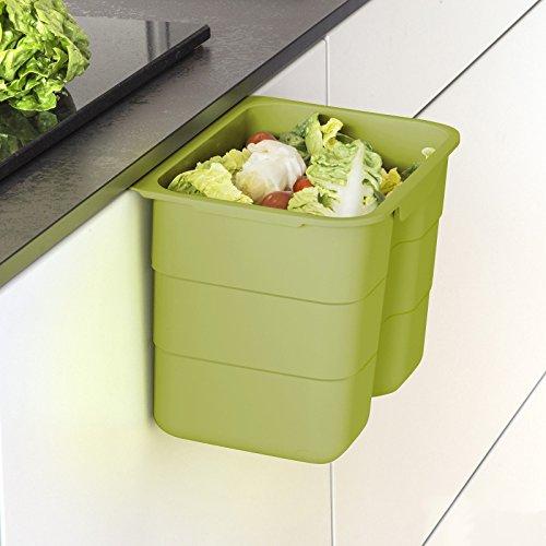 Biobin Multifunktionsbehälter 4,2 L grün mit Deckel 170 x 227 x 172 mm zum Einhängen Bio Abfallbehälter Entsorgung von SO-TECH