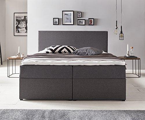 Furniture for Friends Möbelfreude BIANCA | 160x200 cm Anthrazit H2 | mit Bettkasten & Hochwertiger Bonell Federkernmatratze | Polsterbett Boxspringbett