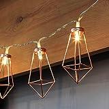 CozyHome LED Lichterkette geometrische Pyramidenform Kupfer Rosegold | 3 Meter Gesamtlänge | 10 warm-weiße LEDs - kein lästiges austauschen der Batterien | NICHT batteriebetrieben sondern mit Netzstecker