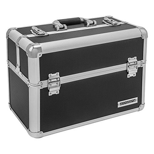 anndora Werkzeugkoffer 24L Präsentationskoffer Etagenkoffer Schwarz + Schlüssel