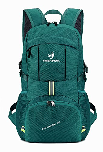 NEEKFOX Leichte Packable Reiserucksack Wanderrucksack, Tagesrucksack, 35L Faltbare Camping Rucksack, Utra leicht Outdoor Sport Rucksack (05.Grün)