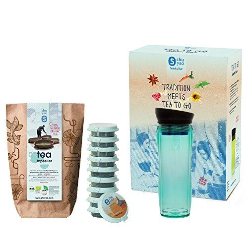 SHUYAO Starter Box Tee to go, Teamaker (360ml) jade + Tee-Set mit 10 unterschiedlichen Teesorten, auslaufsicherer Thermobecher/Infuser mit integriertem Sieb, Tee-Becher und Trinkflasche für unterwegs