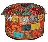 Traditionelle Dekorative osmanischen Komfortable Bodenkissen Hocker mit Verzierung mit Stickerei & Patchwork, 58 x 33 cm