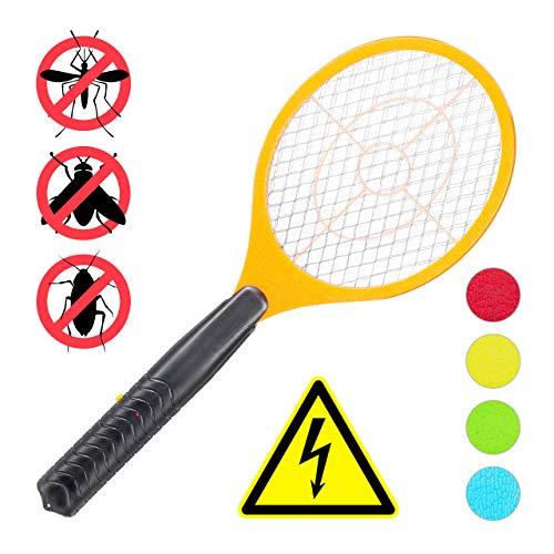 Relaxdays elektrische Fliegenklatsche, ohne chemische Stoffe, gegen Fliegen, Mücken & Moskitos, Fly Swatter, orange