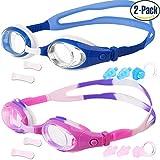 Kinder Schwimmbrille, 2 Stück, Schwimmen Brille für Kinder und Teenageralter von 3 bis 15 Jahren, Anti-Fog, wasserdicht, UV-Schutz, hergestellt von cooloo