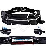 KEAFOLS Sport Hüfttasche Laufen Gürteltasche Running Belt Wasserdicht Laufgürtel mit Kopfhöreranschluss und Reflexstreifen Sporttasche für Smartphone MEHRWEG