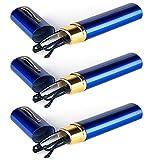 KOOSUFA Lesebrillen Herren Damen Tragbar Brillenhülle Metall Klassische Scharnier Schmal Leichte Stil Stärken lesebrille mit Etui Taschenclip Brillenetui (3 Stück Blau, 2.0)