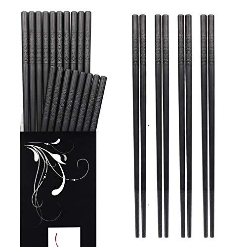 Annvchi EssStäbchen 10 Paar - Japanische Chopsticks Schwarz Stäbchen für Asiatisches Geschirr (Black -A)