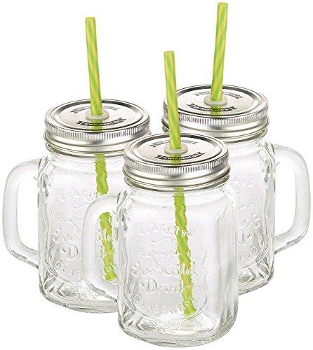 PEARL Smoothie Gläser: Retro-Trinkglas mit Henkel, Deckel und Trinkhalm, 3er-Set (Trinkglas mit Deckel und Strohhalm)
