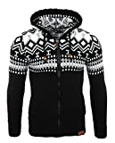Reslad Herren Grobstrick Norweger Pullover Winter Strickjacke Kapuzenpullover RS-3104 (XL, Schwarz-Weiß)
