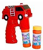 1 x Seifenblasenpistole in Form eines Feuerwehrautos mit LED-Licht und Sound, incl. 2 Behälter mit Seifenblasenflüssigkeit + Batterien