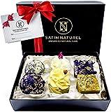Bio Badepralinen Geschenkset Divine Moments/Höchste Qualität/Handgefertigte Badekugeln in hochwertiger Geschenkbox mit Satin Ausbettung + Schleife/Vegane Geschenk-idee für die Frau