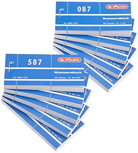 Herlitz Nummernblöcke 1-1000/892703 105x50 mm sortiert Inh.1x10Stück