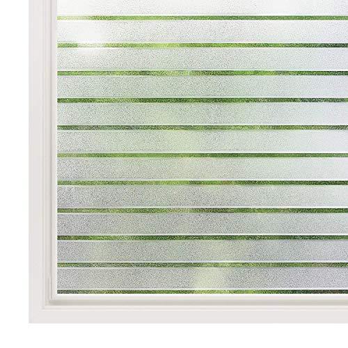 rabbitgoo Fensterfolie Streifen Sichtschutzfolie Selbstklebend Milchglasfolie Sichtschutz gestreifte Folie für Büro Anti-UV 44.5x200CM
