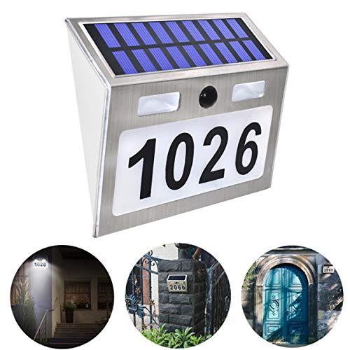 Hausnummer Beleuchtete Solar mit 5 LEDs, Solarhausnummer Edelstahl Hausnummer Solarleuchte Leuchte Außenwandleuchte Hausnummernleuchte Solarleuchten Wandleuchte by Buycitky