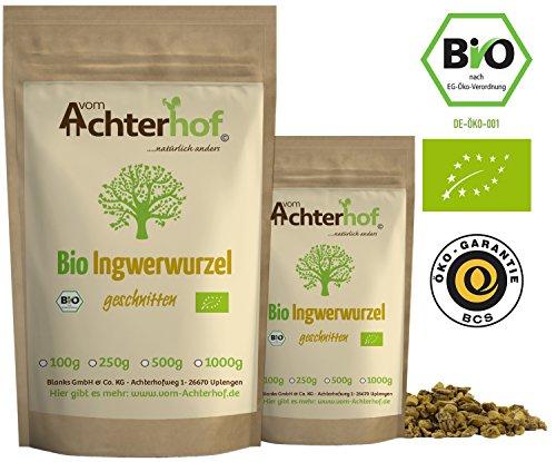 Ingwerwurzel Tee BIO (100g) | Ingwertee | Bio-Ingwer getrocknet geschnitten vom Achterhof