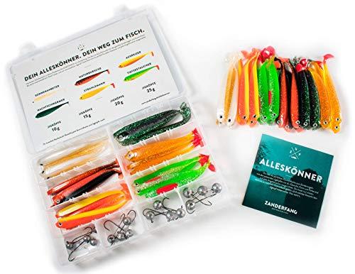 Zanderfang 40 Teile Box Gummifische mit Jigköpfen zum Zanderangeln mit Gummifisch | 24 Gummifische: 6 Farben; 12,5 cm | 16 Jigköpfe Größe 4/0: 10-25 Gramm