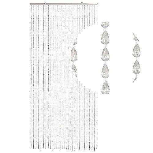 HAB & GUT -DV0294- Türvorhang Tropfen, klar, 90 x 200 cm, Perlenvorhang Pailettenvorhang