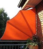 Beauty.Scouts Balkonfächer inkl Schutzhülle und Wandhalterung Sichtschutz orange Stahlrohr Stellwand Markise Sonnensegel wetterfest