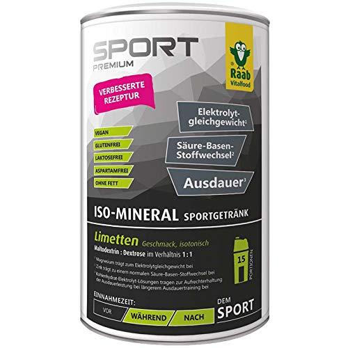 Raab Vitalfood Iso-Mineral Limette Drink, isotonisches Getränk für Ausdauer-Sport, Pulver, isotonisch, vegan, leicht löslich, glutenfrei, 600 g Dose