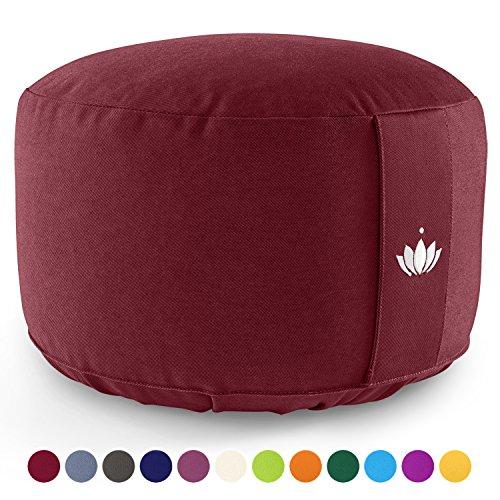 Lotuscrafts Meditationskissen LOTUS, EXTRA HOCH (H:20 cm) Bezug: Baumwolle (kbA), GOTS zertifiziert (Bordeaux Rot)