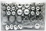 Geschenkestadl 101 teilig Weihnachtskugel Herz Kugel mit Schneeflocke Christbaumspitze mit 100 Metallhaken Anhänger Baumschmuck Weihnachten (Silber)