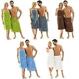 Saunakilt für Herren 70 x 160 cm Frottee Baumwolle kurzer Schnitt, hell-blau, mit Stickerei 'Wellness' | aqua-textil 0010398