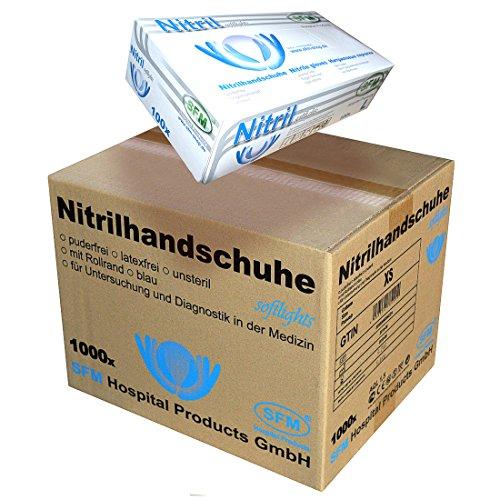 SFM SOFTLIGHTS Nitril : XS, S, M, L, XL blau puderfrei F-tex Einweghandschuhe Einmalhandschuhe Untersuchungshandschuhe Nitrilhandschuhe M (1000)