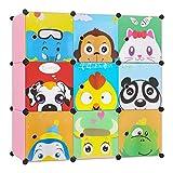 BAMNY Kinderzimmer Kleiderschrank, Aufbewahrungsregal für Kleidungen Schuhe Spielzeuge, DIY Steckschrank mit 1 Kleiderstangen und Tieren Motiven(Rosa)