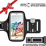 PORTHOLIC Schweißfest Sport Armband Fitness bis 6.0 zoll für iPhone X 8 Plus 7 Plus 6/6S Plus,Galaxy S9/S8/S7 Plus edge,Note 8/6 LG g6 Huawei P10 Mate Xiaomi Mit Schlüsselhalter/Kabelfach/Kartenhalter(Schwarz+)