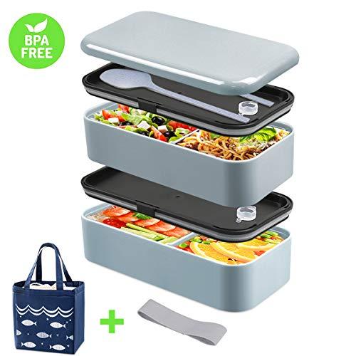 DA HENG Bento Box, Lunchbox für Erwachsene, Lunch Box für Kinder, Brotdose mit Isolierbeutel, Teiler, Utensilien, Brotdose, Aus Lebensmittelgeeignetem PP, Auslaufsicher, Mikrowellengeeignet, BPA-frei