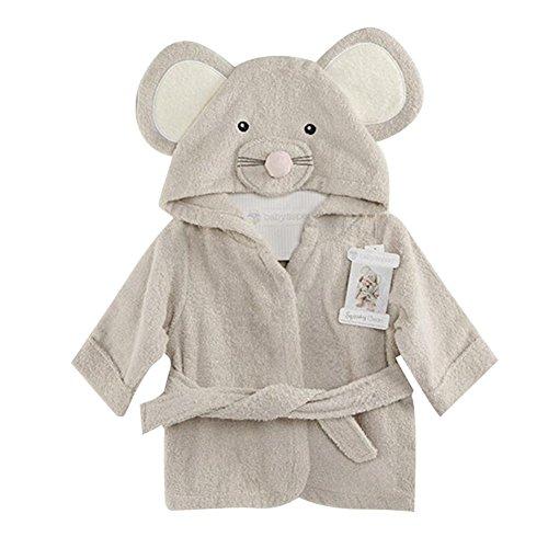 Fancyus Unisex Infant Baby Baumwolle Maus mit Kapuze Badetuch Bademantel, grau