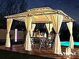 Luxus LED - Pavillon 3x4m Minzo - inkl. Seitenwände mit LED Beleuchtung + Solarmodul Gartenpavillon Partyzelt Gartenzelt (ohne Moskitonetz, creme)