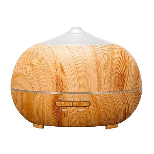 Tenswall 400 ml Luftbefeuchter Ultraschall Diffuser Aromatherapie Luftbefeuchter Ätherische Öle Luftbefeuchter Holzmaserung Duftspender für ätherische Öle Elektrische Luftreiniger aus Holz mit 7 Farben LED Lichter für zuhause, Yoga, Büro, SPA, Schlafzimmer