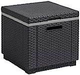 Allibert 17194600 Rattanoptik Kühlbox/Beistelltisch Ice Cube, grau (graphit), 40 L
