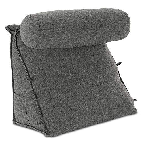 maxVitalis Rückenkissen, Keilkissen mit Nackenrolle   Abnehmbarer, waschbarer Bezug   Fernsehkissen, Lesekissen, Bücherkissen für Bett, Sofa & Auto   mit Seitentasche   Maße: 55×50×30 cm