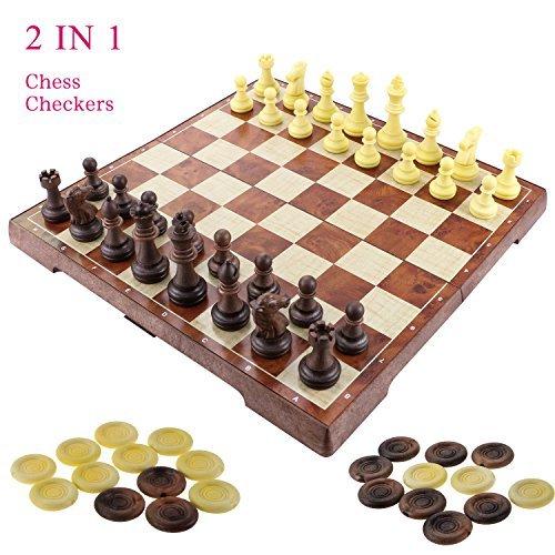 2 in 1 Schachspiel Magnetisch, Fixget Schachspiel Schachbrett mit Deluxe Magnetischem mit Figuren Schachbrett edel Einkla ppbar Holz Schachspiel Schachkassette Komplettes Schachfiguren Set