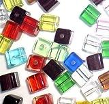 K2-Accessories eingeclipt 50Stück 8mm Cube Stil Wert Kristall Glas Perlen–gemischt–A3093