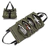 Große Multi-Taschen Werkzeugrolle Schraubenschlüssel Rollentasche Roll Up Tools Bag Werkzeug-Organizer, Eimer, Werkzeug zum Aufrollen, handliche kleine Werkzeuge, Tragetasche (Green)