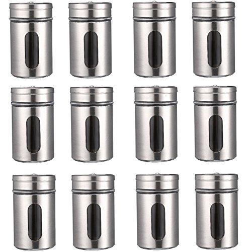 12 Gewürzstreuer Set aus Edelstahl mit Sichtfenster / Streudosen in Silber mit 80ml Vorratsgläser für Aufbewahrung von Gewürzen inkl. 3 StreuEinstellungen - Salz u. Pfefferstreuer von STAR-LINE
