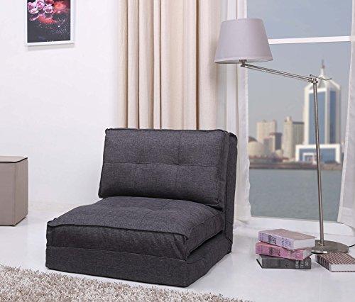 Schlafsessel Jugendsessel Gästebett Bettsessel (Stoffbezug grau groß)