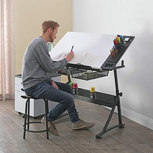 Studio Designs Fusion Craft Station, Metall, anthrazit schwarz/weiß, 122x 61x 90cm