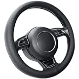SEG Direct Schwarz Lenkradhülle Lenkrad Abdeckung Lenkradbezug aus Mikrofaser-Leder für Prius Civic 35.5-36 cm
