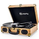 Popsky Plattenspieler, Plattenspieler Schallplattenspieler mit 3-Gang 33/45/78 U / min und Eingebauter 2 Stereo- Lautsprecher, Kopfhöreranschluss, USB, AUX-Eingang, RCA-Ausgang - Naturholz