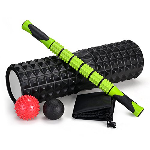 Odoland Faszienrolle Schaumstoffrolle Rollen Set 5 in 1 mit Roller Stick u. Faszienbälle Foam Roller zum Faszien Training von Muskeln (Länge 45 cm Durchmesser 14 cm)
