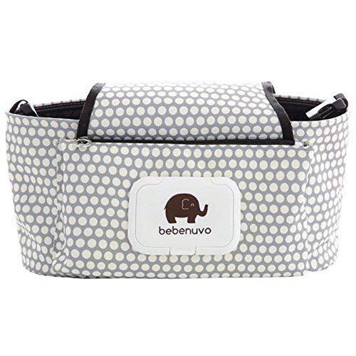 Kinderwagen Organizer, Universale Baby Kinderwagentasche mit Reißverschluss, Unverzichtbares Kinderwagen-Zubehör Aufbewahrungstasche. (Weiße Punkte)
